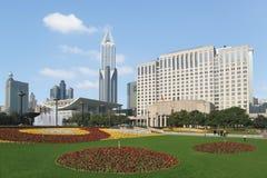 El paisaje cuadrado de la gente de Shangai Imágenes de archivo libres de regalías