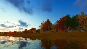 El paisaje 3D del bosque de Autum rinde stock de ilustración
