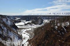 El paisaje de la foto es llevó durante viaje en tren de Anchorage Fairbanks Fotografía de archivo libre de regalías