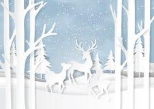 El paisaje de la naturaleza y la familia de los ciervos el invierno sazonan al CCB de papel del arte ilustración del vector