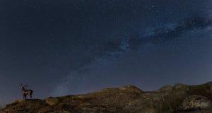 El paisaje de la noche con el ovis del mouflon de la vía láctea y de las ovejas cerca de la pequeña ciudad Aytos durante la prima Imagenes de archivo