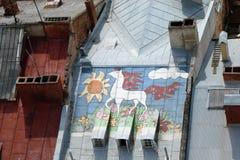 El paisaje de la vieja parte de la ciudad de Lviv en Ucrania occidental: edificios históricos, catedrales, monumentos arquitectón Fotografía de archivo