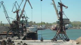 El paisaje de remolcadores y las grúas en astillero en cargo viran hacia el lado de babor Crane Loading del material de construcc almacen de metraje de vídeo