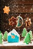 El paisaje del invierno con las casas de galletas y los árboles de navidad están en la luna las estrellas Imagen de archivo libre de regalías