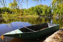 El paisaje del otoño cerca de un lago con amarillo se va en árboles en caída imagen de archivo