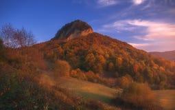 El paisaje del otoño de la montaña con el bosque colorido foto de archivo libre de regalías