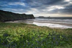 El paisaje del verano de la cabeza del gusano y Rhosilli aúllan en País de Gales Fotografía de archivo