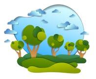 El paisaje escénico de prados y los árboles, cielo nublado, los campos del verano y ejemplo del vector de los prados en papel cor stock de ilustración