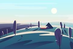 El paisaje hermoso con la casa del pueblo en los prados de los campos resume el ejemplo minimalistic del vector stock de ilustración