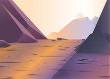 El paisaje hermoso de montañas rocosas y el lago grande con reflejan Imágenes de archivo libres de regalías