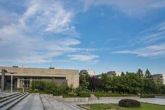 El paisaje hermoso del campus Imagen de archivo libre de regalías