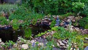 El paisaje hermoso en parque y Buda se está sentando cerca del lago Imagen de archivo libre de regalías