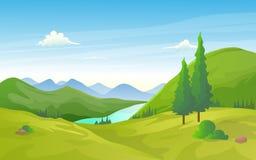 El paisaje natural del valle verde con el río y la montaña reman ilustración del vector