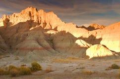 El paisaje seco y solitario de los Badlands Imagen de archivo libre de regalías