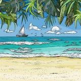 El paisaje tropical del mar con el velero en horizont, las palmeras y la arena varan stock de ilustración