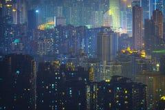 El paisaje urbano de Chongqing en China iluminó en la noche fotos de archivo libres de regalías