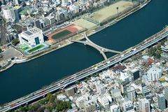 El paisaje urbano de la vista de pájaro de Tokio tiró de Tokio Skytree Observatio fotografía de archivo