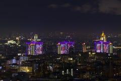 El paisaje urbano de las grandes ciudades y de sus distritos Imagen de archivo