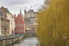 el paisaje urbano medieval Imagenes de archivo