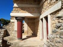 El palacio de Knossos es el sitio arqueológico más grande de la edad de bronce en la isla de Creta, Grecia Detalle de ruinas anti imagenes de archivo