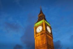 El palacio de Westminster Big Ben en la noche, Londres Imagen de archivo