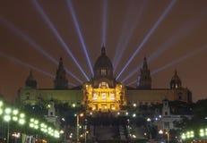 El palacio nacional Montjuic en la noche Fotografía de archivo libre de regalías