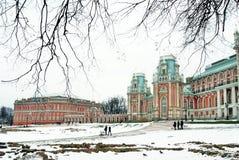 El palacio y el Tsaritsyno grandes parquean panorama en Moscú Imagen de archivo libre de regalías