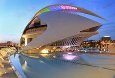 Free El Palau De Les Arts Reina Sofía Building With Reflections At Dusk Stock Images - 96366454
