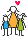 El palillo colorido simple figura al solo padre, madre, hijo, hija, niños Imágenes de archivo libres de regalías
