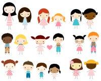 El palillo figura a niños - los muchachos y las muchachas Imagen de archivo