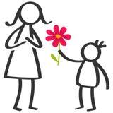 El palillo simple figura a la familia, muchacho que da la flor a la madre el día del ` s de la madre, cumpleaños aislada en el fo ilustración del vector