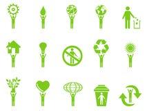 El palillo verde de los iconos del eco figura serie Imagen de archivo libre de regalías