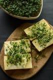 El pan con queso amarillo, la mayonesa y el berro adornan Fotos de archivo