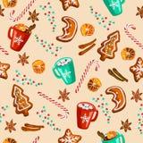El pan de jengibre de la Navidad, reflexionó sobre el vino, modelo inconsútil del cacao stock de ilustración