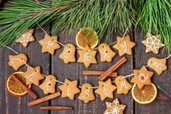 El pan de jengibre redacta Feliz Navidad Foto de archivo