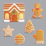 El pan de jengibre tradicional de la Navidad trata el sistema del ejemplo Foto de archivo libre de regalías