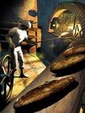 El panadero en el trabajo ilustración del vector