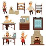 El panadero en vector del proceso del pan de la hornada de la tienda de la panadería aisló iconos de la gente de la profesión ilustración del vector