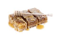 El panal con la miel y la miel se pegan en el fondo blanco Imagen de archivo libre de regalías