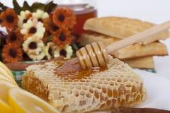 El panal del primer remató con la miel y el cazo en una tabla foto de archivo libre de regalías
