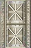 El panel altamente detallado de la puerta del metal Stock de ilustración