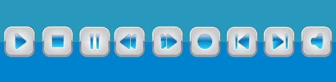 El panel azul de los multimedia Imagen de archivo