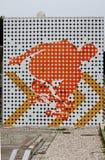 El panel con un patinador en un parque Sk8 Imagen de archivo libre de regalías