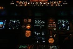 El panel de aviones comerciales Foto de archivo libre de regalías