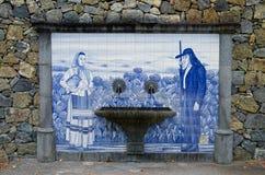 El panel de Azulejo en la ciudad de Furnas, isla de Miguel del sao, Azores, Portugal Fotos de archivo libres de regalías