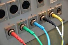 El panel de conector audio y video Fotos de archivo libres de regalías