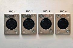 El panel de conector del micrófono Imagenes de archivo