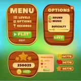 El panel de control de madera de la historieta para los elementos del menú del juego de Ui de una historieta divertida del juego  Fotos de archivo