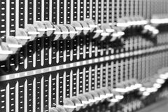 El panel de control del equipo de audio Fotografía de archivo