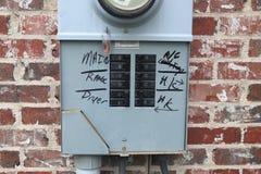 El panel de disyuntor en fuera de casa imagen de archivo libre de regalías